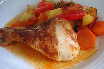 Hähnchenschenkel mit Gemüse und Kartoffeln im Backofen 4