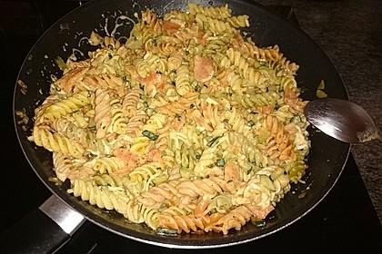 Spaghetti mit geräucherter  Lachsforelle 3