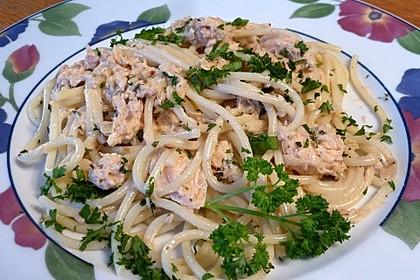 Spaghetti mit geräucherter  Lachsforelle
