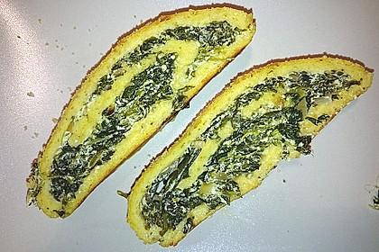 Kartoffelrolle mit Spinatfüllung