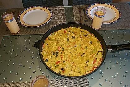 Geschnetzeltes Hähnchenbrustfilet in Curry-Kokosmilch