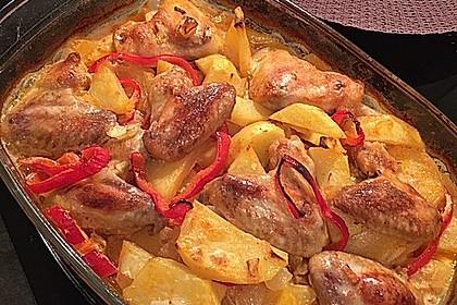 Türkischer Kartoffelauflauf mit Hähnchenflügel 1
