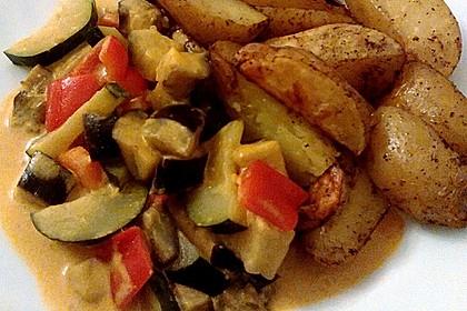 Scharfes Gemüse-Curry nach Thai Art mit indisch angehauchten Ofenkartoffeln