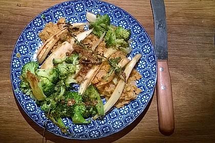 Gemüse auf Rote-Linsen-Risotto mit Zitronen-Pfeffer-Butter