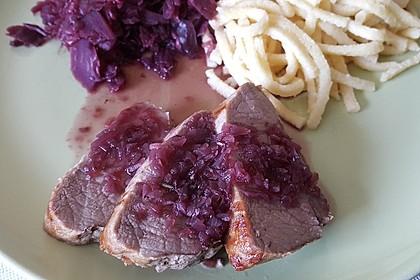 Rehrückenfilet aus dem Ofen in Rotweinsauce (Bild)