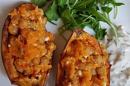 Gefüllte Süßkartoffeln mit Kichererbsen und Ziegenkäse 3