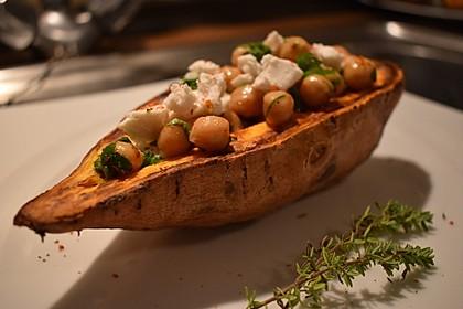 Gefüllte Süßkartoffeln mit Kichererbsen und Ziegenkäse 1