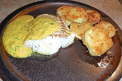 Seelachsfilet mit Curry-Cremesauce