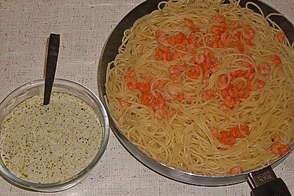 Shrimps auf Knoblauchspaghetti mit Joghurtpesto 1