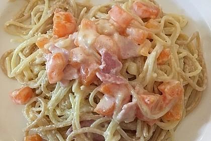 Bienemayas Spaghetti mit Erbsen, Schinken und Käse - Sahnesauce 10