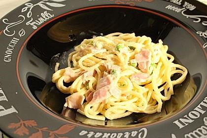 Bienemayas Spaghetti mit Erbsen, Schinken und Käse - Sahnesauce 3