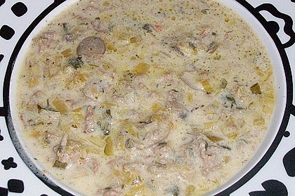 Käsesuppe mit Hackfleisch und Porree 1