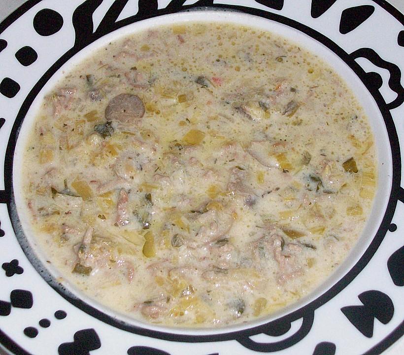Käsesuppe mit hackfleisch und porree rezept