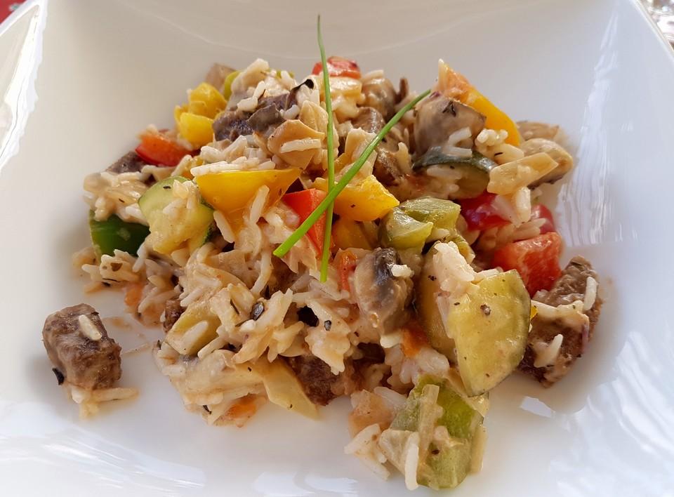 Mediterrane Sommerküche Rezepte : Bunte mediterrane gemüsepfanne mit reis von pzychobitch chefkoch