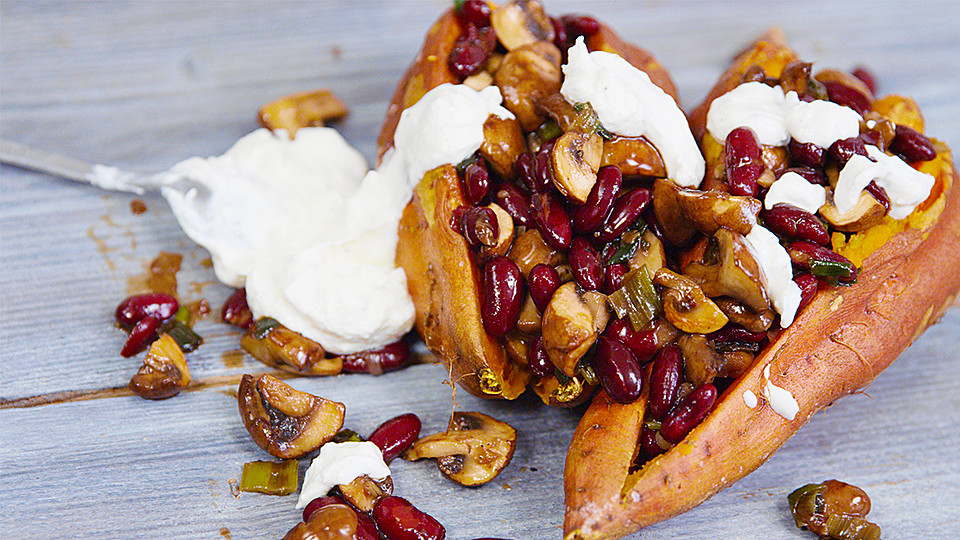 Gebackene Süßkartoffeln Gefüllt Mit Pilzen Von Hannahkochteinfach