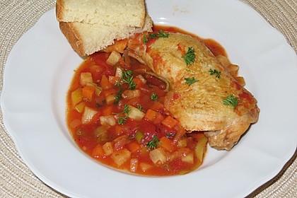Hähnchen in Tomaten-Knoblauchsoße (Bild)