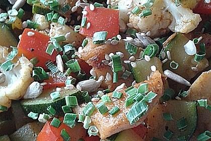 Sojafilets mit Gemüse und Reis