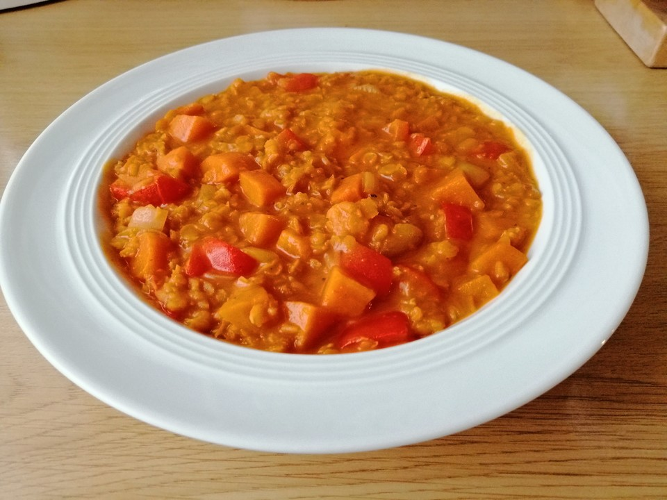 rote linsensuppe mit curry