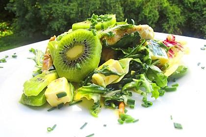 Frühlingssalat mit Kiwi, Schafskäse, Pute und Minze