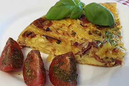 Omelette mit Frühlingszwiebeln und Pilzen (Bild)