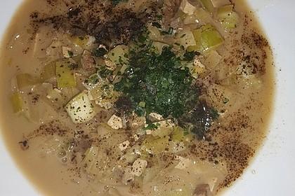 Vegane Lauch-Käse-Hack Suppe