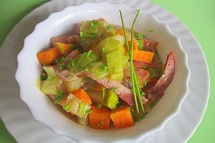 Süßkartoffel-Eintopf mit Kasseler Lachs und Birne