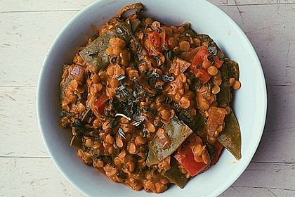Einfaches Rote-Linsen-Spinat-Curry