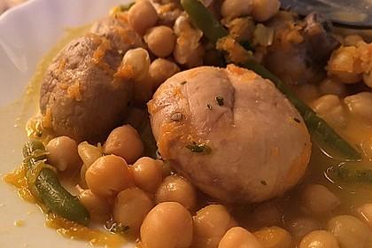 Kichererbsensuppe mit Champignons und grünen Bohnen