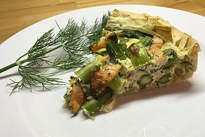 Quiche mit grünem Spargel und geräuchertem Lachs 1