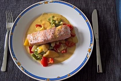 Gebratener Lachs an Paprika-Mango-Gemüse 2