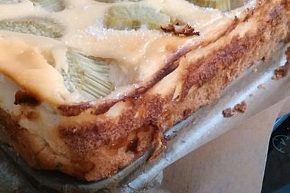 Rhabarber-Quarkkuchen auf Hefeteig