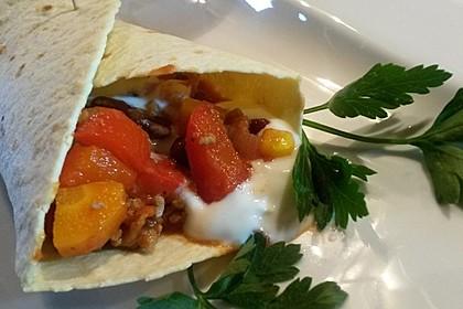 Mexikanische Tortilla - Wraps mit Hähnchenfüllung