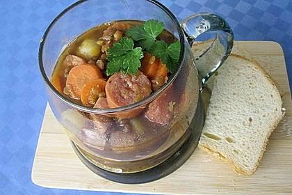 Linsensuppe mit Kartoffeln und Mettwurst 14