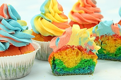 Rainbow Cupcakes und Rainbow Swirl Buttercream Frosting 3