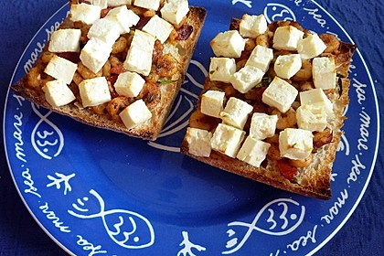 Bruschetta mit Krabben, Tomaten und Feta