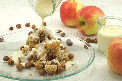 Apfel-Streusel-Crumble mit Vanille-Soße