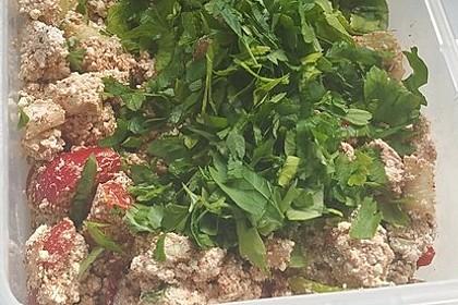 Gesunder orientalischer Salat mit türkischem Lor Peynir