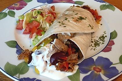 Filetgeschnetzeltes Mexicana im Tortillafladen