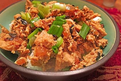 Japanisches Reisgericht mit Hühnerfleisch und Ei