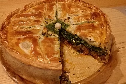 Blätterteig - Pie mit Hackfleisch - Spinat Füllung 5