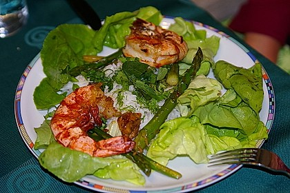 Garnelen mit grünem Spargel und Austernsauce 6