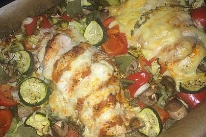Fächer-Pesto-Hähnchen mit Ofengemüse 2