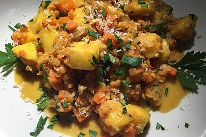Linsencurry mit Mango und Kokos 5
