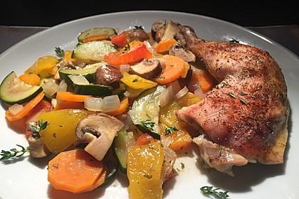 Hühnerkeule mit Gemüse aus dem Bräter 1