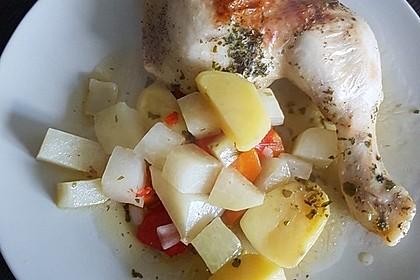 Hühnerkeule mit Gemüse aus dem Bräter 9