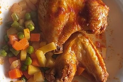 Hühnerkeule mit Gemüse aus dem Bräter 7