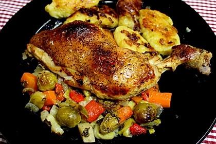 Hühnerkeule mit Gemüse aus dem Bräter