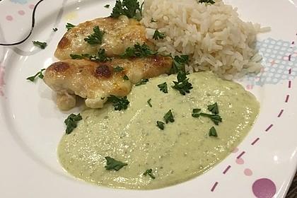 Hähnchen-Innenfilets mit Mozzarella überbacken in Pestosoße mit Reis