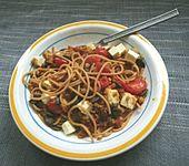 Spaghetti mit Linsen, Kirschtomaten und Feta-Käse (Bild)