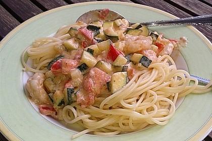 Spaghetti mit Frischkäse-Garnelen-Soße 4